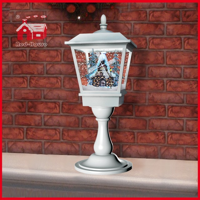 (LT27064W-W) Snowing Lighted New Christmas Crafts Decorative Lamp with Music