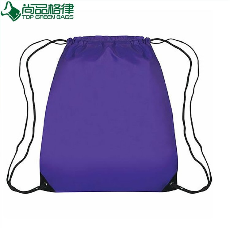 210d Polyester Drawstring Backpack with Front Zipper Pocket (TP-dB059)