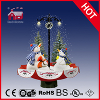 (118030U075-3S-RS) Snowing Christmas Decorations with Umbrella Base