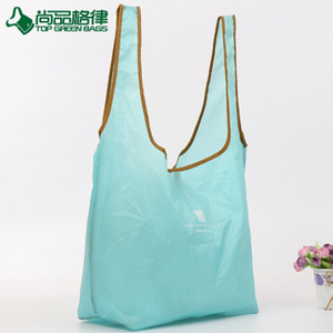 2017 fashion foldable grocery bag polyester tote shopping bag with snap button (TP-FB203)