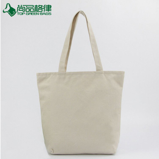 Wholesale cheap blank organic cotton shopping canvas tote bag with zipper closure (TP-SP618)