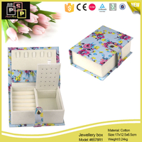 Printing Cotton Cover Book Shape Jewelry Box For Ring,Earring,Necklace