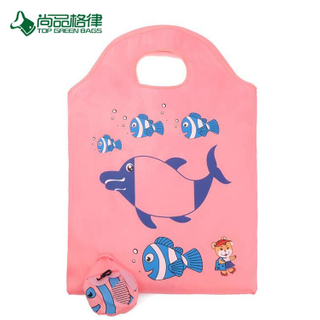 Reusable Reinforced Handle Grocery Large Custom Holder Fish Shape T-Shirt Folding Shopping Bag