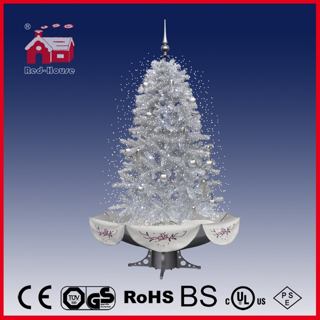 (40110U150-SS) All White Flying Snow Christmas Tree with LED and Music