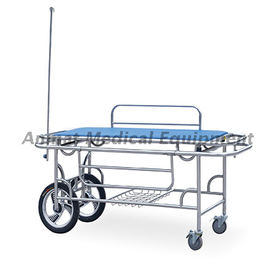 Stainless Steel medical stretcher with 2 big 2 small wheels
