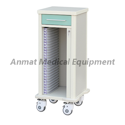 single row 25 layers medical case history trolley with drawer