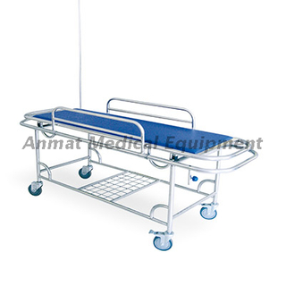 Four small wheels metal frame hospital ambulance stretcher