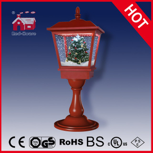 (LT27064S-R) Red Snowing Musical Lighted Christmas Tabletop Lamp
