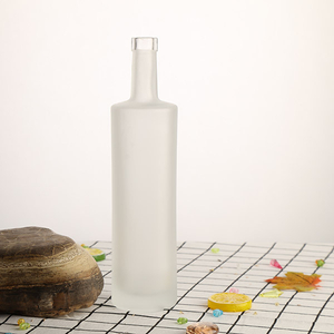 750ml Cork Finish Frost Glass Bottle