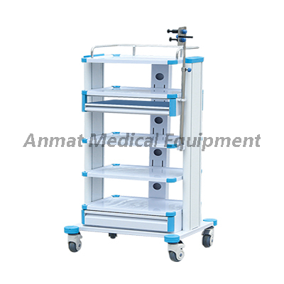 Hospital Instrument Endoscopy Stack trolley cart with monitor holder