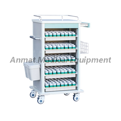 Steel- plastic dressing and medicine change cart in hospital