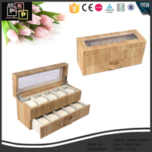 Wooden Grain PU leather Made 10 watches glass window drawer watch box