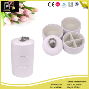 White Pink Round tube 4 tray PU leather Jewelry Storage Gift Box