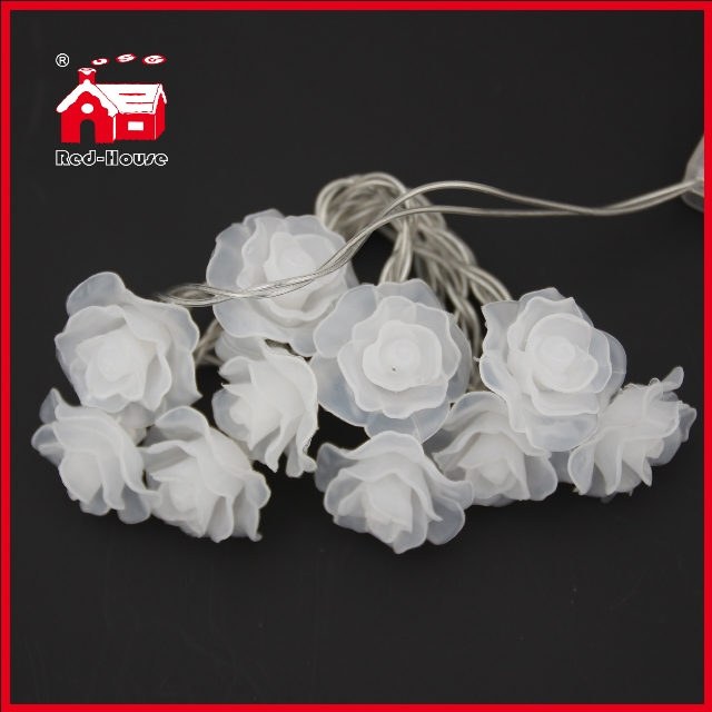 10 Simulation Pink Rose LED Battery Light String Flower Christmas Light