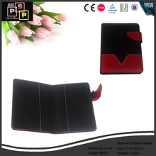 Red And Black Color PU leather A6 Note Book Cover